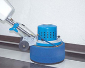 Baseboard cleaning with Scrub Jay attachments mounted on Rabbit-3 machine