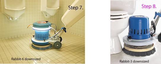 downsized machine working around the toilet