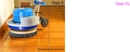 Cleaning grout with downsized machine